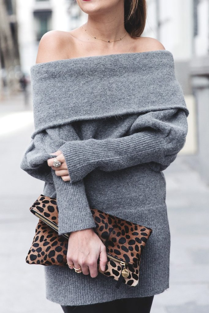 Sara Escudero is wearing a softhearted mohair knitted sweater dress in grey from Chicwish
