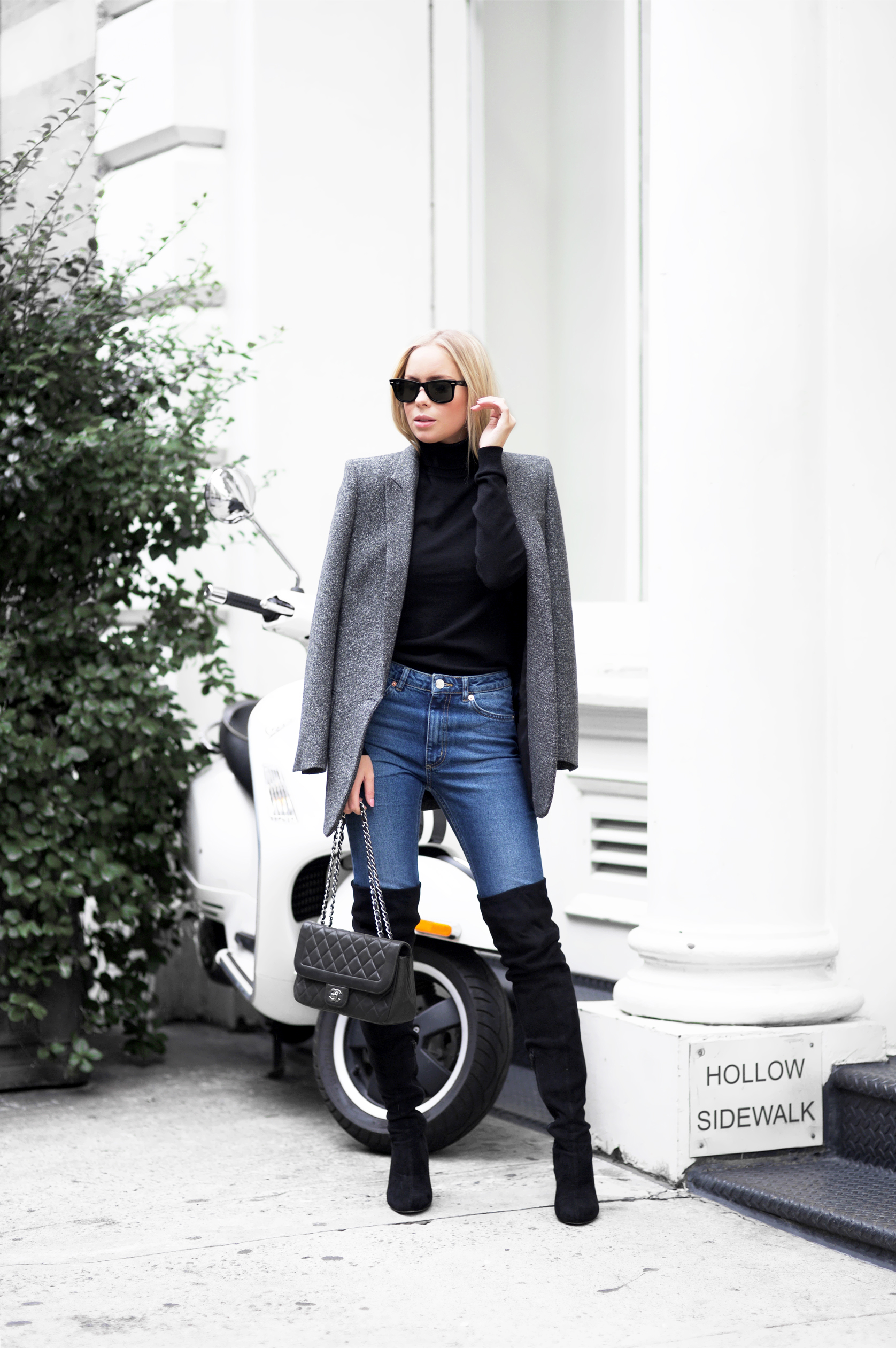 Go for a more androgynous style like Victoria Tornegren and wear your over the knee boots with jeans and an oversized vintage blazer. Not only is this look totally in, but it is also great for both work and going out. Bag: Chanel, Shoes: Asos, Blazer: Zara, Jeans: Monki.