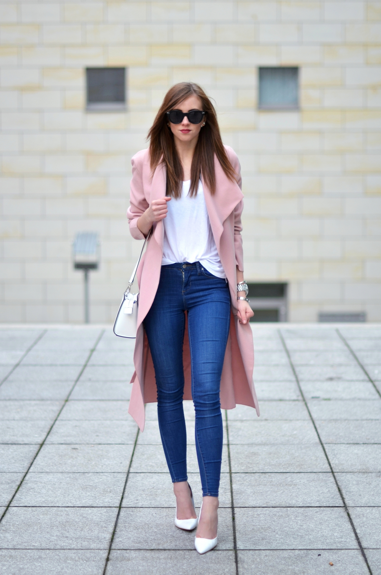 This is how pastels should be worn in winter. Via Barbora Ondrackova Shirt: Acne, Jeans/Shoes: Topshop, Coat: Missguided, Bag: Michael Kors, Sunglasses: Celine