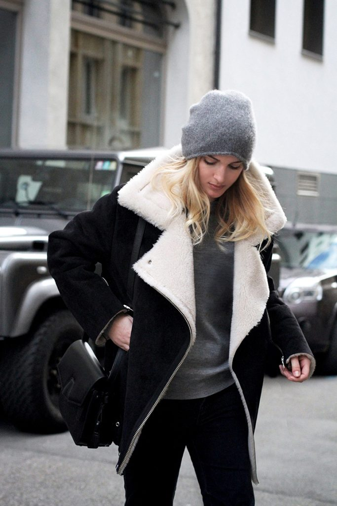 Mirjam Flatau is wearing a shearling motorcycle coat