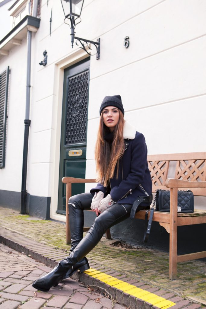 Shearling Fashion Trend: Negin Mirsalehi is wearing a shearling jacket from Sandro