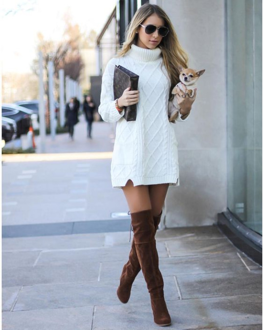 Mercedes Gonzalez is wearing a crocheted whiter sweater dress, paired with thigh high brown suede boots and a pair of retro shades. This look can be worn with or without tights for two weather appropriate styles!    Shoes: ZooShoo.