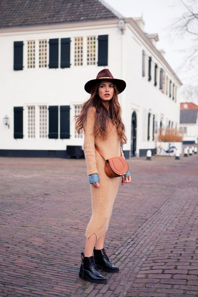 Sweater Dress Trend: Negin Mirsalehi is wearing a brushed mohair sweater dress from Asos
