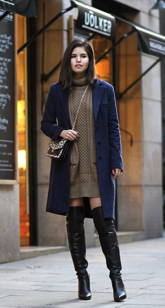 Adriana Gastélum is wearing an olive sweater dress from Six Kisses