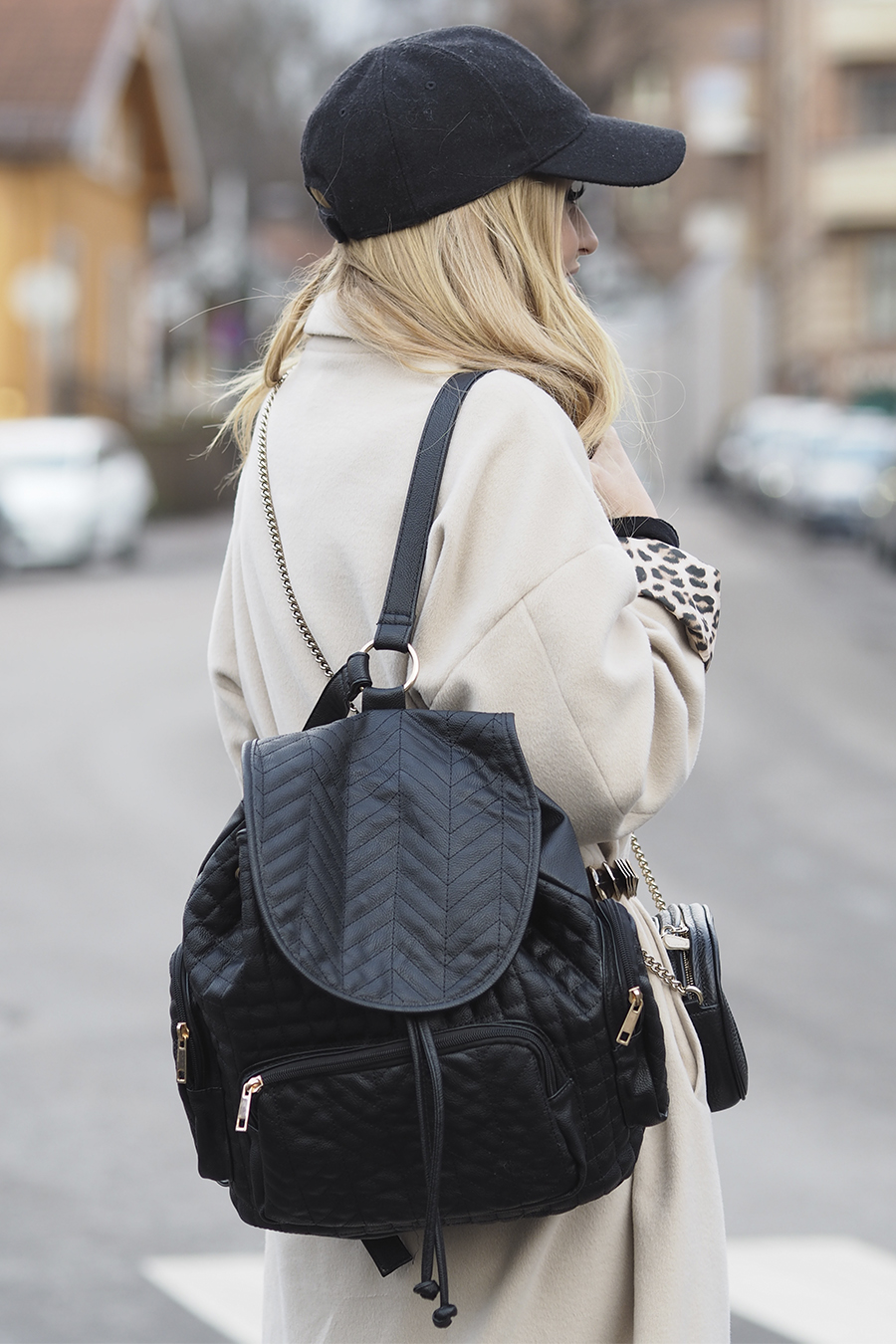 Lene Orvik is wearing black backpack from Bik Bok