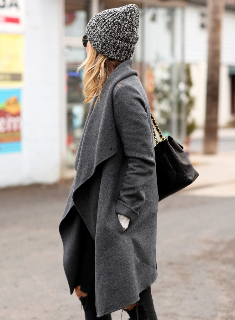Winter Outfits: Helena Glazer is wearing a grey coat from Vince, black jeans from Rag & Bone and the grey hat is from Denim & Supply