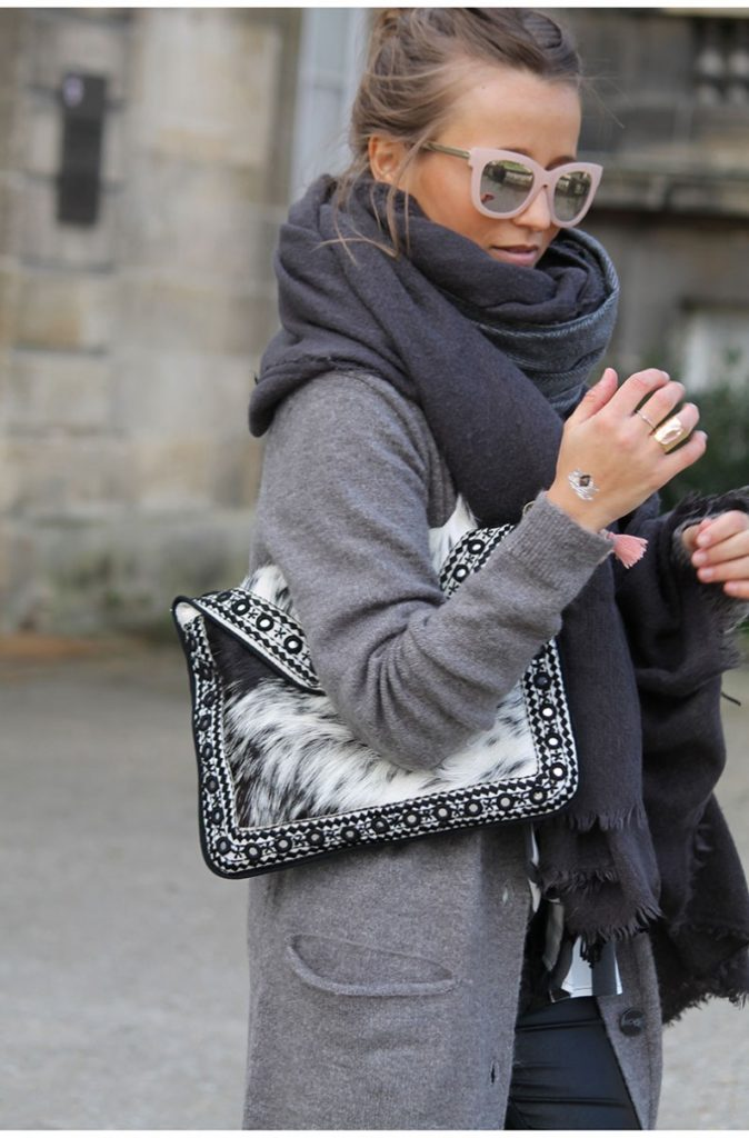 Grey Outfits & Ideas: Camille Callen is wearing an ash grey Asos coat with a Zara scarf and a faux fur clutch bag