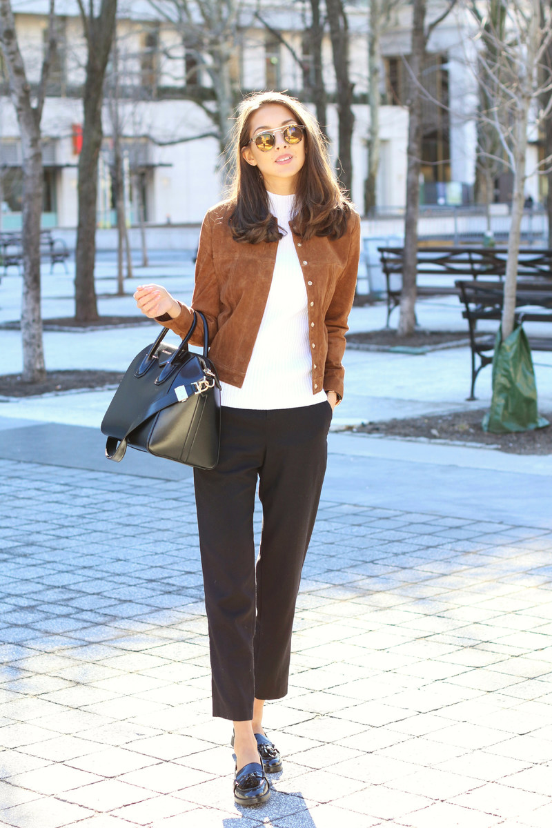 Suede Fashion Trend: Felicia Akerstrom is wearing a camel suede Mango jacket