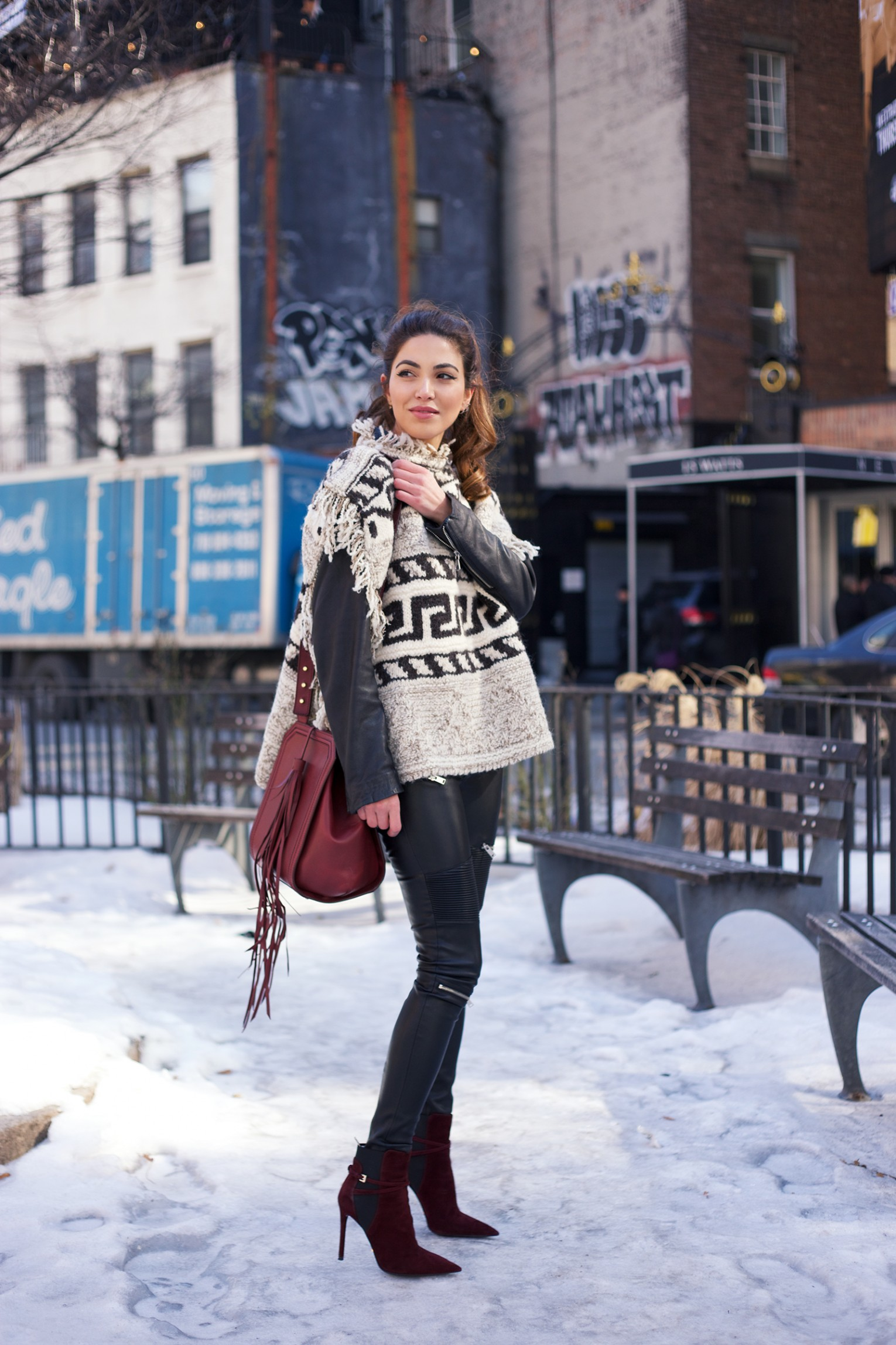 Blanket Coat Trend: Negin Mirsalehi is wearing an Isabel Marant coat
