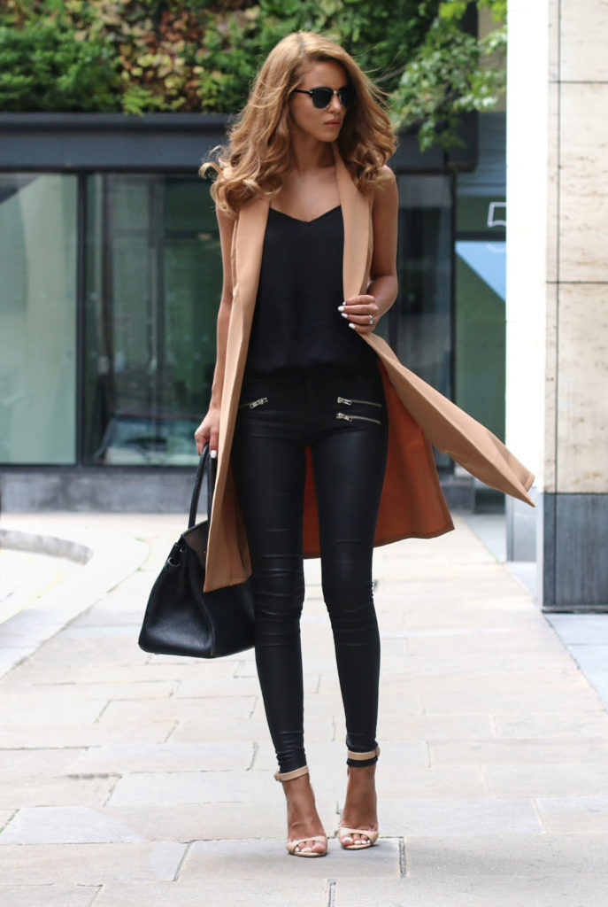 Approaching Fall the camel and black colours will take over this year. Nada Adelle  Waistcoat: Missy Empire, Cami – River Island, Leather Pants: Quiz Clothing, Shoes: Zara, Bag – Hermes, Sunglasses: Asos