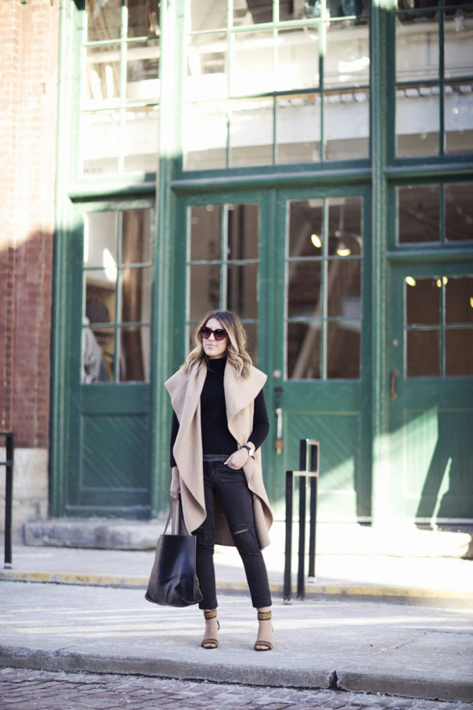 Stephanie Sterjovski in her camel and black outfit