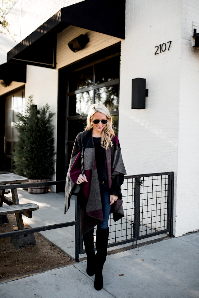 Krystal Schlegel has created a fabulous autumn style here, pairing this patchwork blanket coat with skinny jeans and over the knee boots to create a sleek yet comfortable finish. Coat: Steve Madden, Boots/Jeans: Nordstrom.