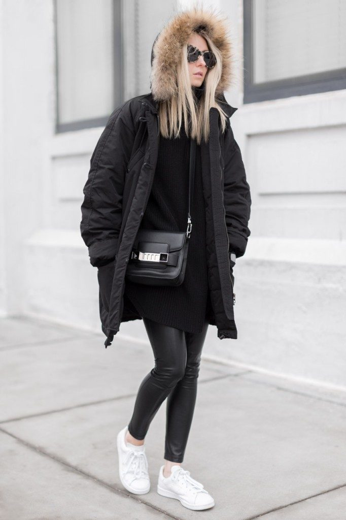 Figtny is wearing a Black Marant Parker, a Black Hope Marine sweater , White Stan Smith Sneakers  and leggings from Aritzia Wilfred Rebelle.
