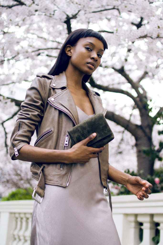 It is all about that little olive suede satchel from Karen Millen, Via Natasha Ndlovu