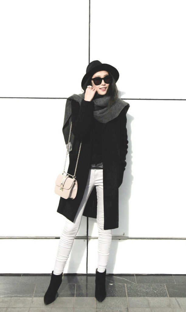 Allison Wang goes street style January 2015 The black coat is from Gioia Milano