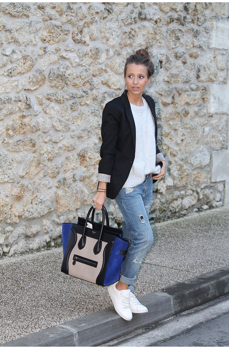 Street Style, January 2015: Camille Callen is wearing a black blazer and ripped jeans from Pull & Bear, white sweater from H&M, shoes from Pimkie and the bag is from Celine