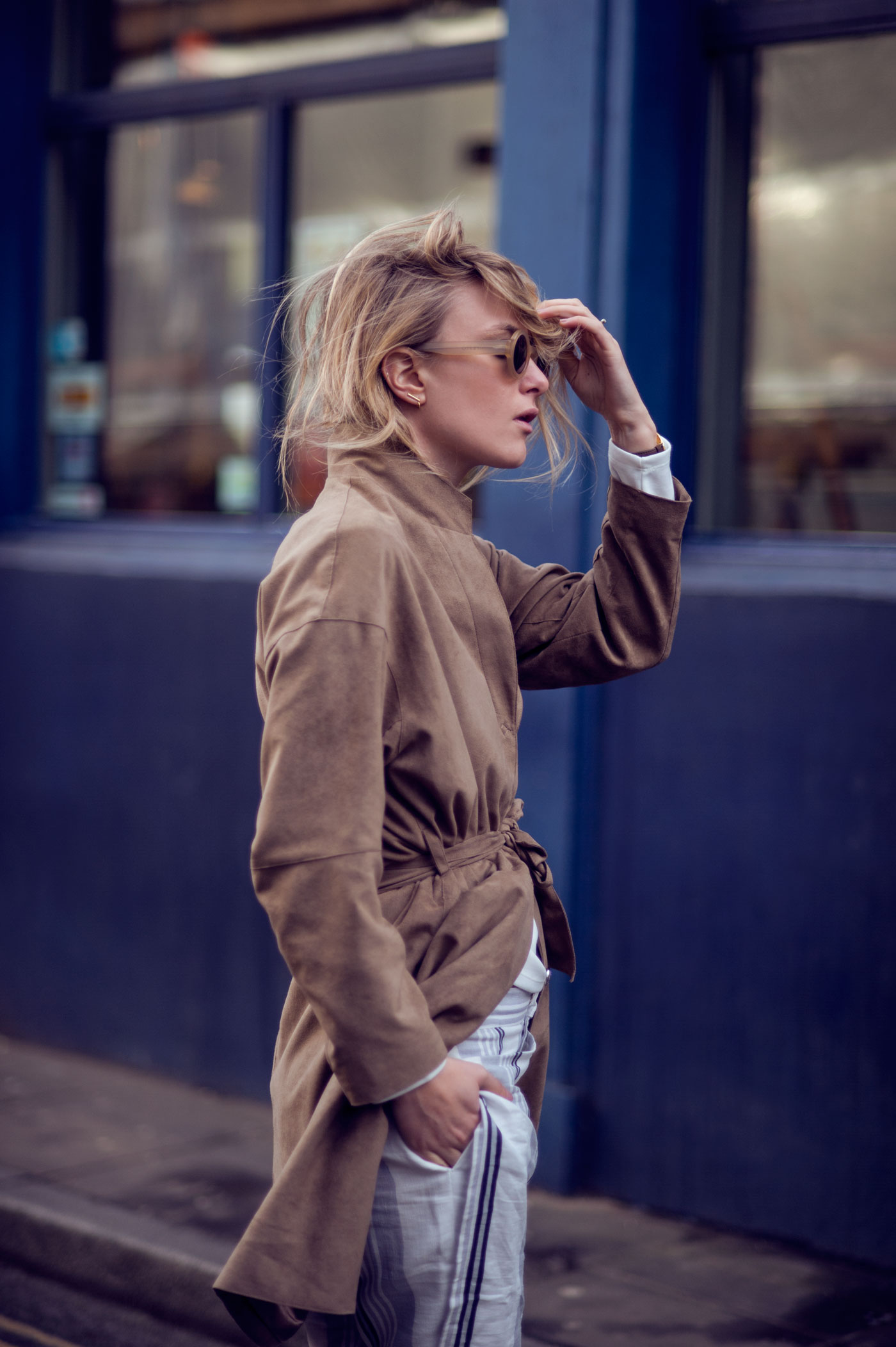 a9c49d4bef Suede Outfit  Rebecca Laurey is wearing a tan suede coat from Filippa K
