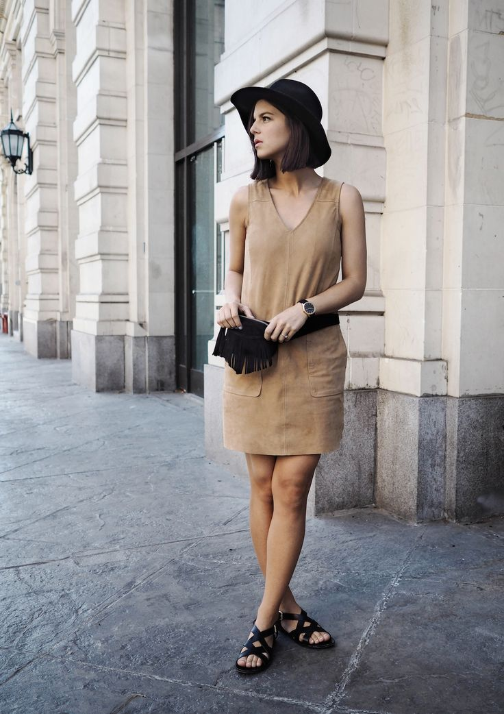 That brown suede dress with the black accessories... Awesome. Via Michelle Madsen Dress: Asos, Hat: Otte NY, Fanny Pack: Ganni