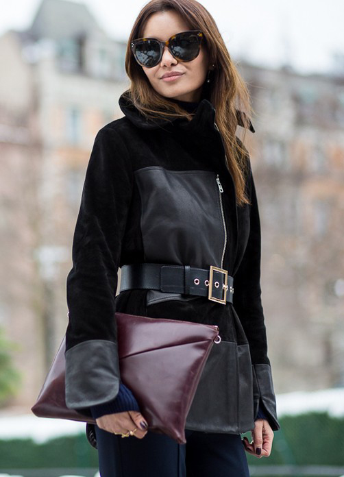 Funda Christophersen is wearing a suede and leather jacket from Whyred