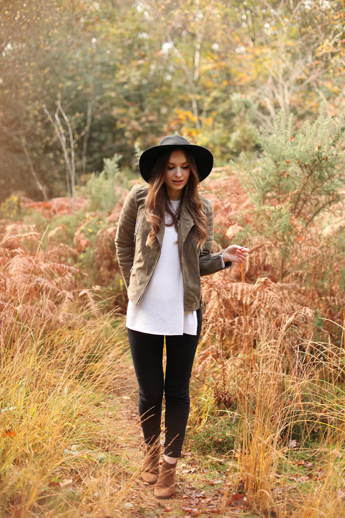 Suede Fashion Trend: Olivia Purvis is wearing a brown suede jacket from All Saints