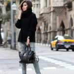 Turtleneck Trend: Adriana Gastélum is wearing a plain black turtleneck from Six Kisses