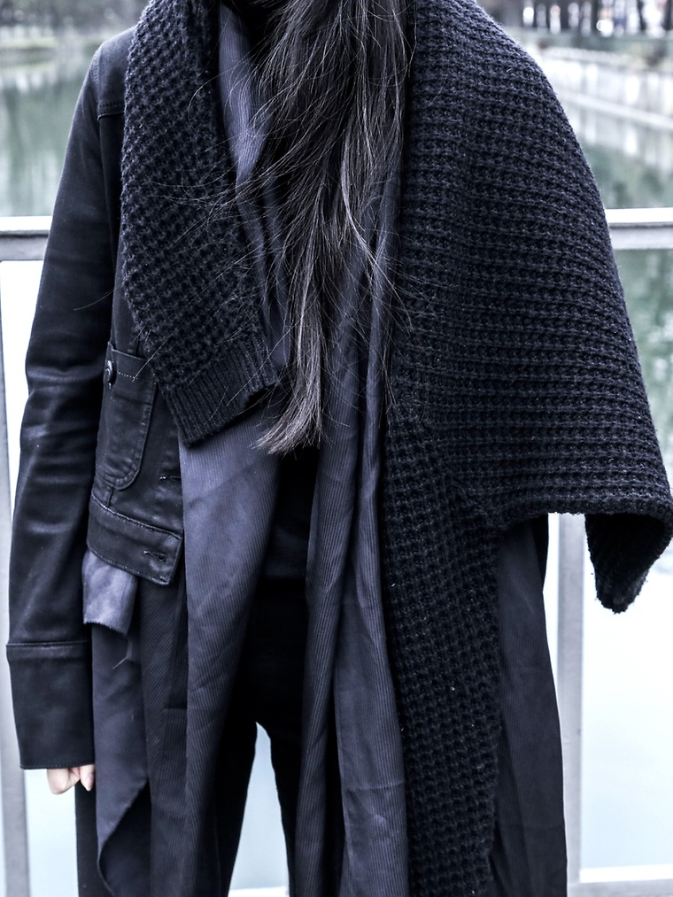 Winter Outfit: Alice M. Huynh is wearing a all black, silk scarf from Alice M. Huynh, denim jacket from Karl Lagerfeld, jeans from Acne Studios and the sweater is from Won Hundred