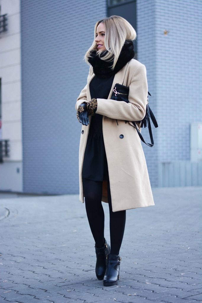 Magda is wearing a beige coat and black scarf and gloves from Reserved, black dress from Land Fashion, ankle boots from Czasnabuty
