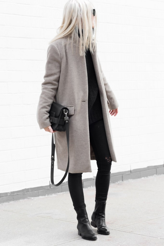 Winter Outfit: Figtny is wearing a grey coat from Oak + Fort, distressed jeans from Zara, leather boots from Alexander Wang and the bag is from Proenza Schouler