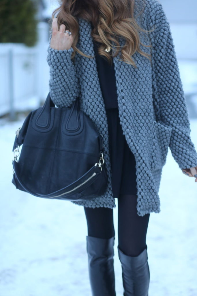 Benedichte is wearing a grey cardigan and black dress from Gestuz, bag from Givenchy