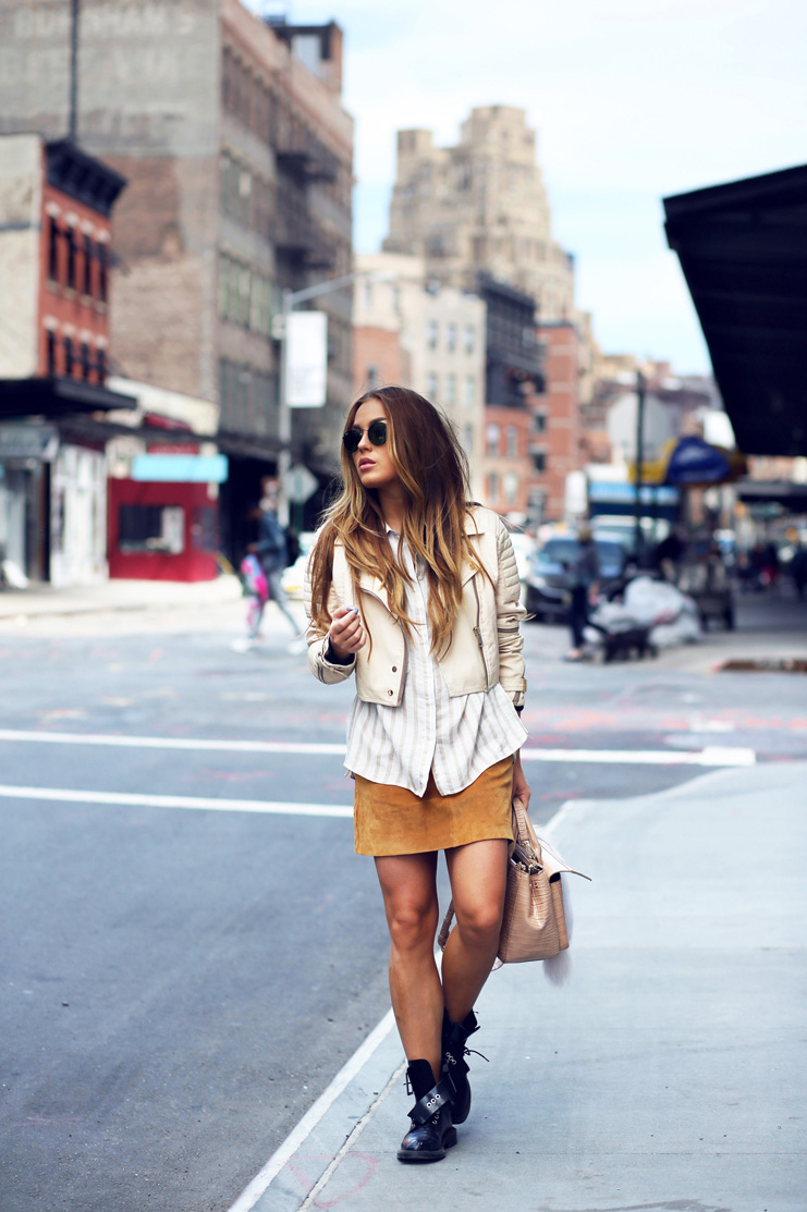 Wear Suede In Summer: Angelica Blick is wearing a Zara suede camel mini skirt