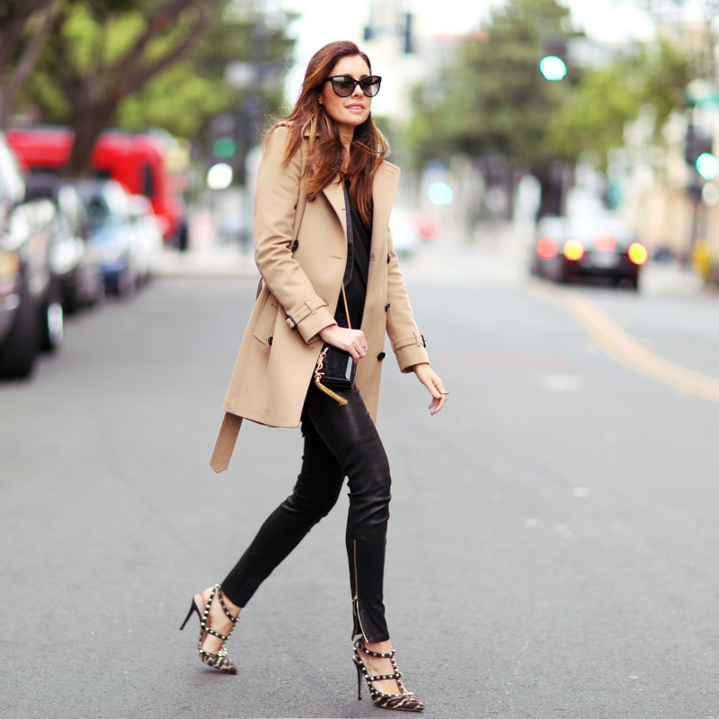 Street Style February 2015: Erica Hoida is wearing a creme Burberry coat, leather J Brand trousers and Valentino heels
