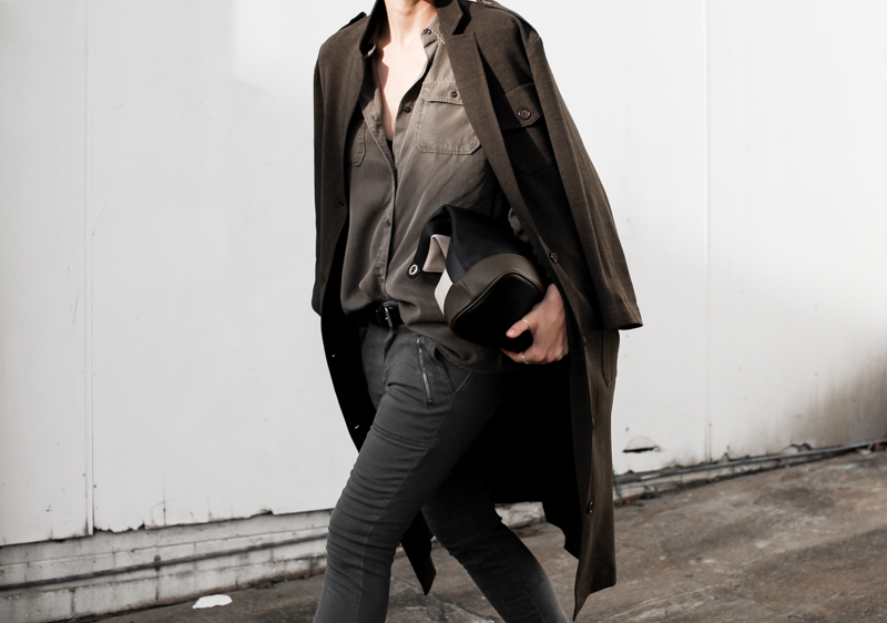 Military Fashion Trend: Kaitlyn Ham is wearing a brown shirt with black skinnys jeans from Witchery and an Asos coat