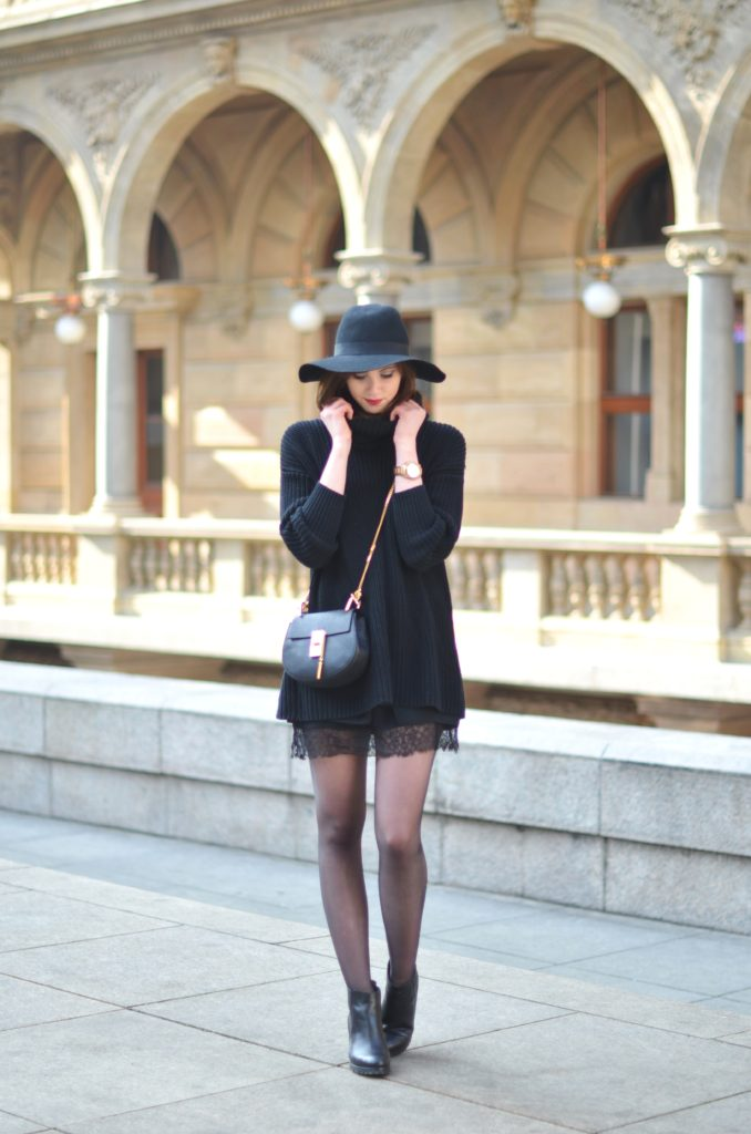 Barbora Ondrackova is wearing a knitted American Apparel turtle neck with a Choies hat and Kurt Geiger boots