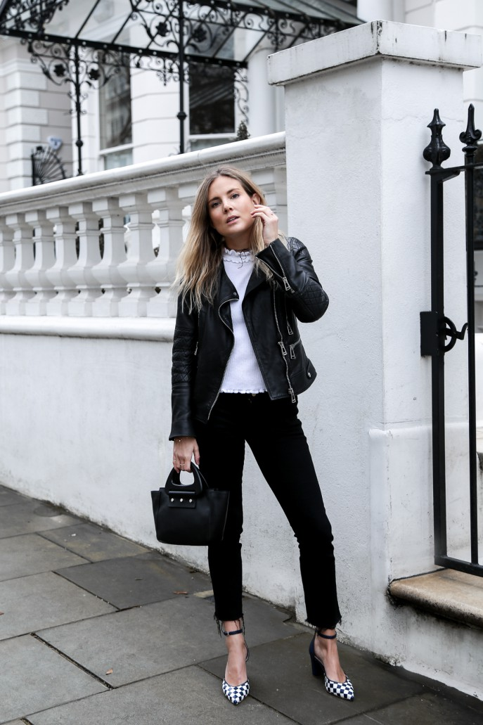 Black jacket and black jeans