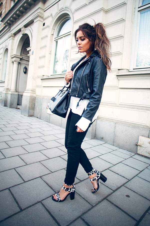 e6e377845cf ... How To Style A Black And White Outfit  Fanny Lyckman is wearing a  Minusey leather