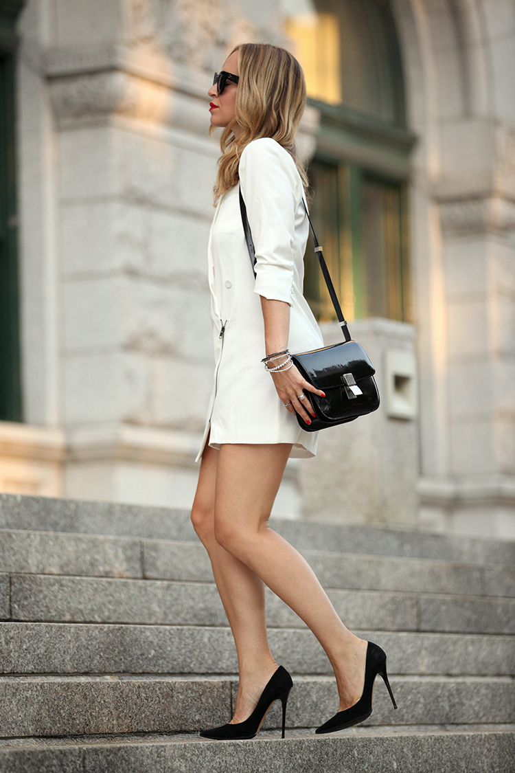 Wear your black shoes and bag with a simple white short dress. Sophisticated.Via Helena Glazer Dress: Loves & Friends, Shoes: Jimmy Choo