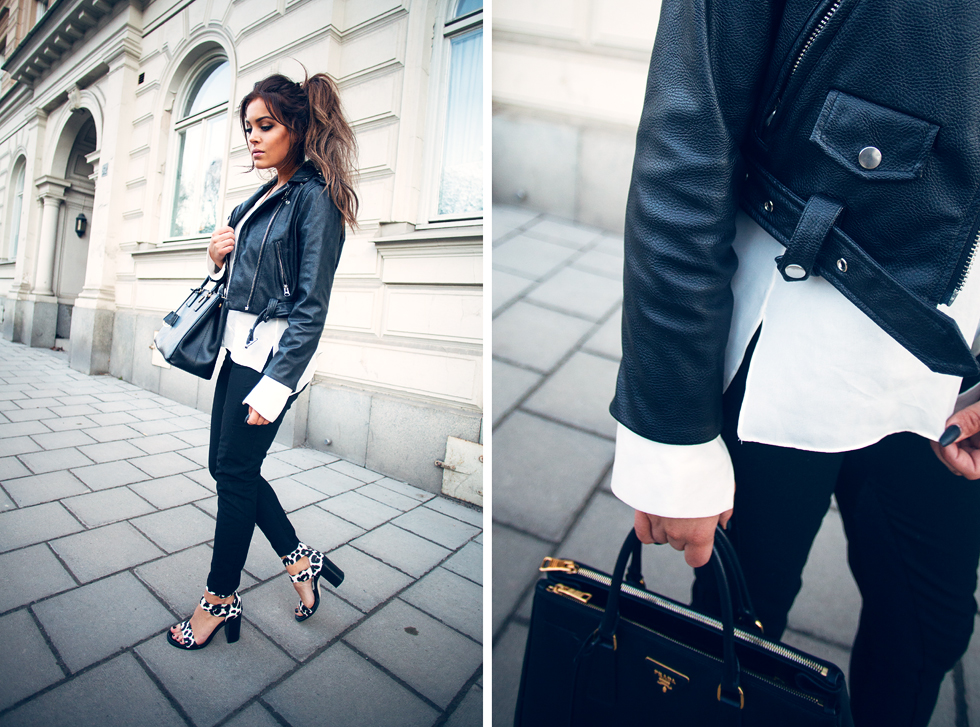 How To Style A Black And White Outfit: Victoria Tornegren is wearing a Minusey leather jacket, a long sleeved Zara shirt with a pair of Gina Tricot trousers
