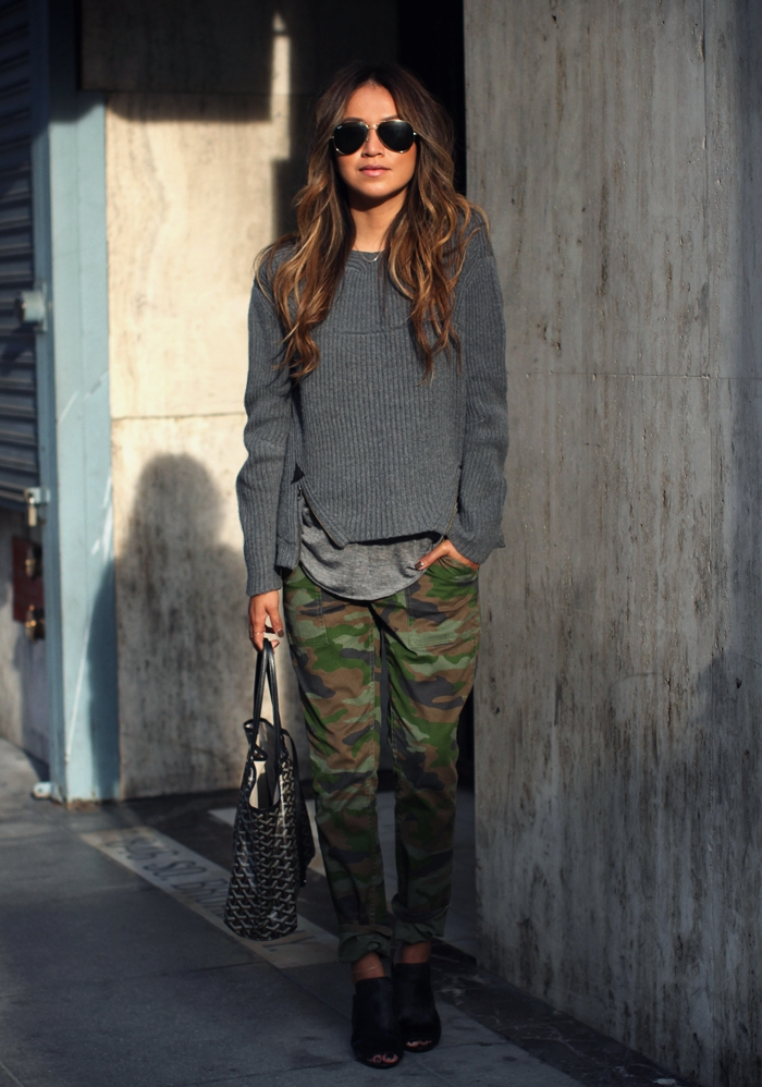 Julie Sarinana is wearing camouflage trousers from J. Crew