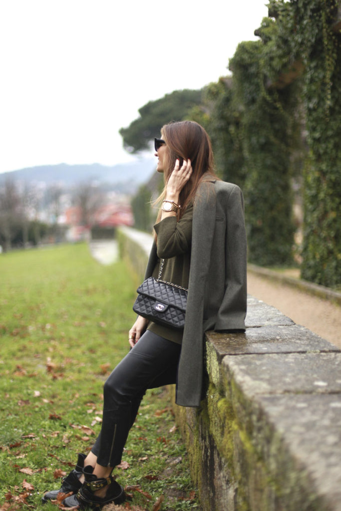 Military Fashion Trend: Silvia Garcia is wearing a coat from American Vintage, and the khaki sweater is from Zara