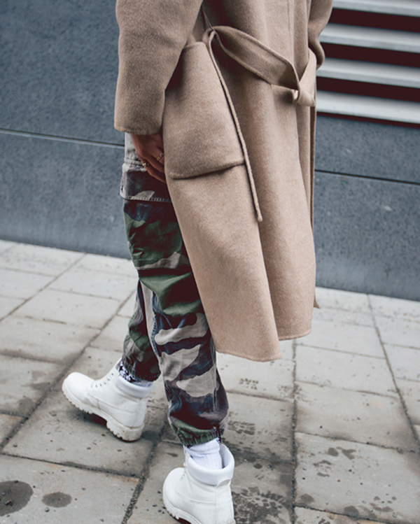 Fanny Lyckman is wearing vintage camouflage trousers