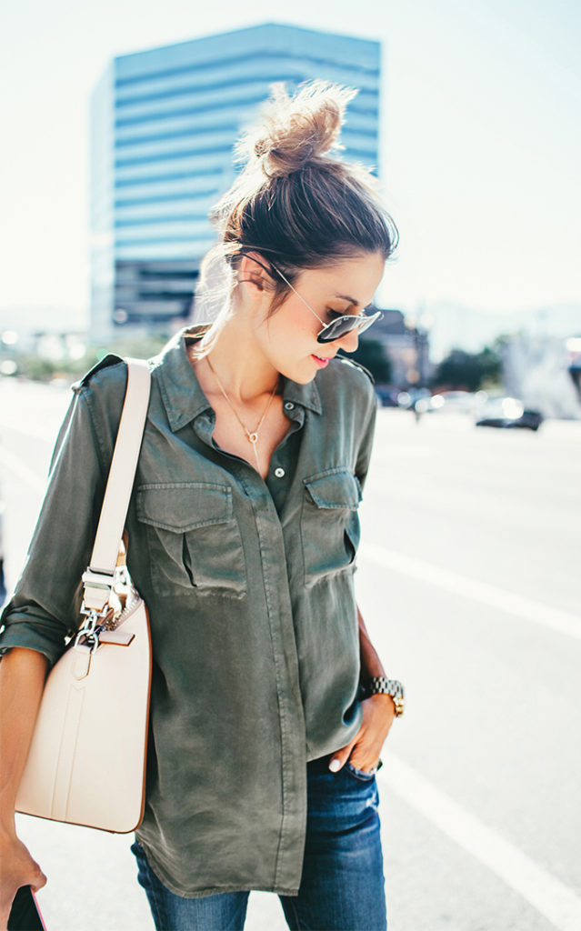 This military style khaki shirt is worn just right by Christine Andrew. Think I am going to have to get myself one.   Shirt: Equipment