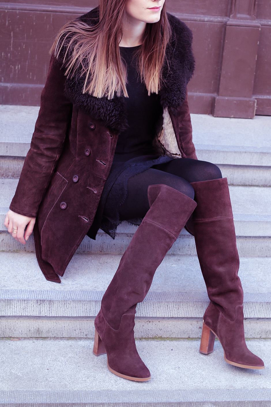 70's Trend: Magdalena Ilic is wearing a vintage shearling coat, dress from Free People and over the knee boots from Michael Kors