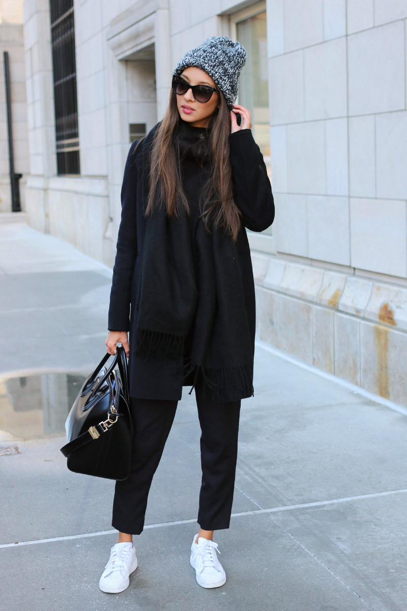 Black dress with adidas shoes - Street Style February 2015 Felicia Akerstrom Is Wearing A Black Coat From Massimo Dutti