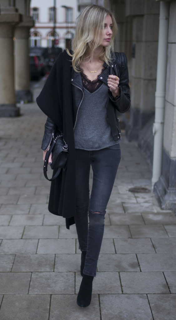Street Style 2015: Lisa RVD is wearing a leather jacket from Zara, knit deep V-neck top and grey jeans from Anine Bing lace body, shoes from Office London, bag from Chanel and the scarf is from Neyo