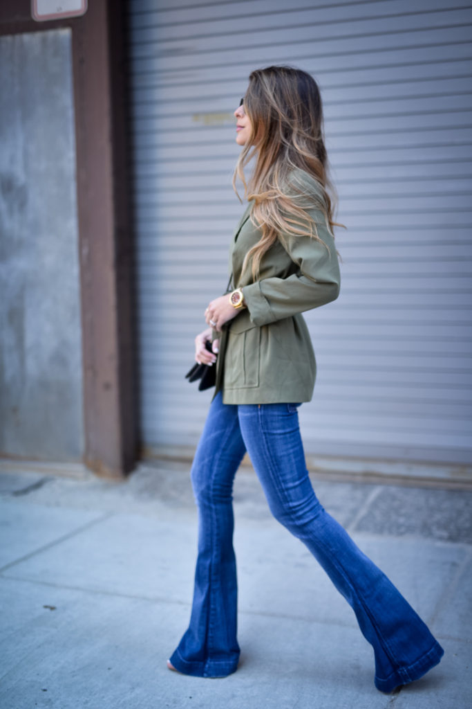 Military Fashion: Pam Hetlinger is wearing a khaki green Topshop utility jacket