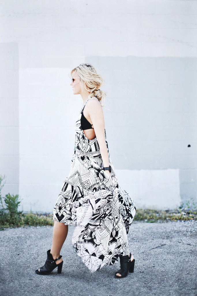 Black & White Dresses: Mary is wearing a Free People patterned dress with a pair of black Rag & Bone heels