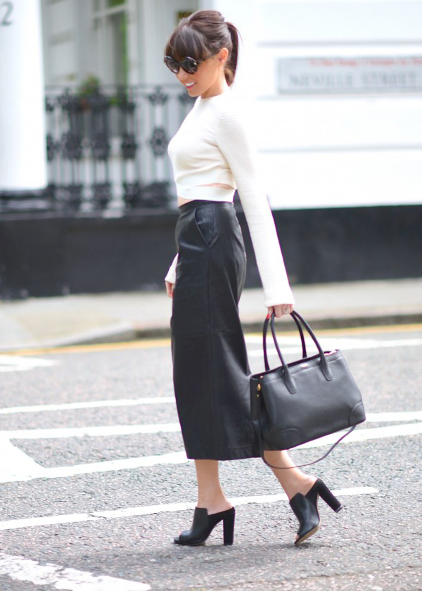 Lorna Luxe shows off the black and white trend with this smart spring outfit. An elegant cropped white top, leather maxi skirt and black heels Skirt: Forever 21, Shoes: RMK Shoes