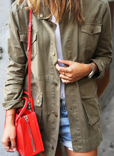 The Military Fashion Trend: Julie Sarinana is wearing a Sincerely Jules khaki army jacket