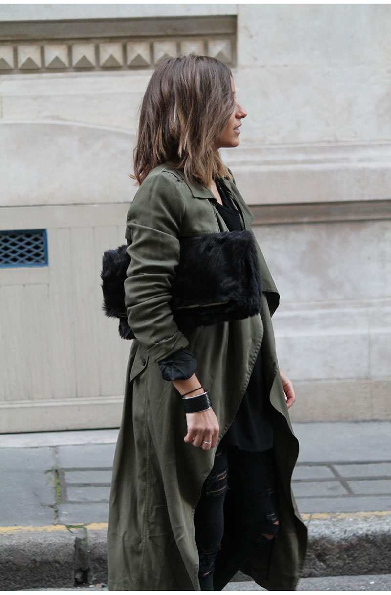 Military Trend: Camille Callen is wearing a Pimkie army green trench coat