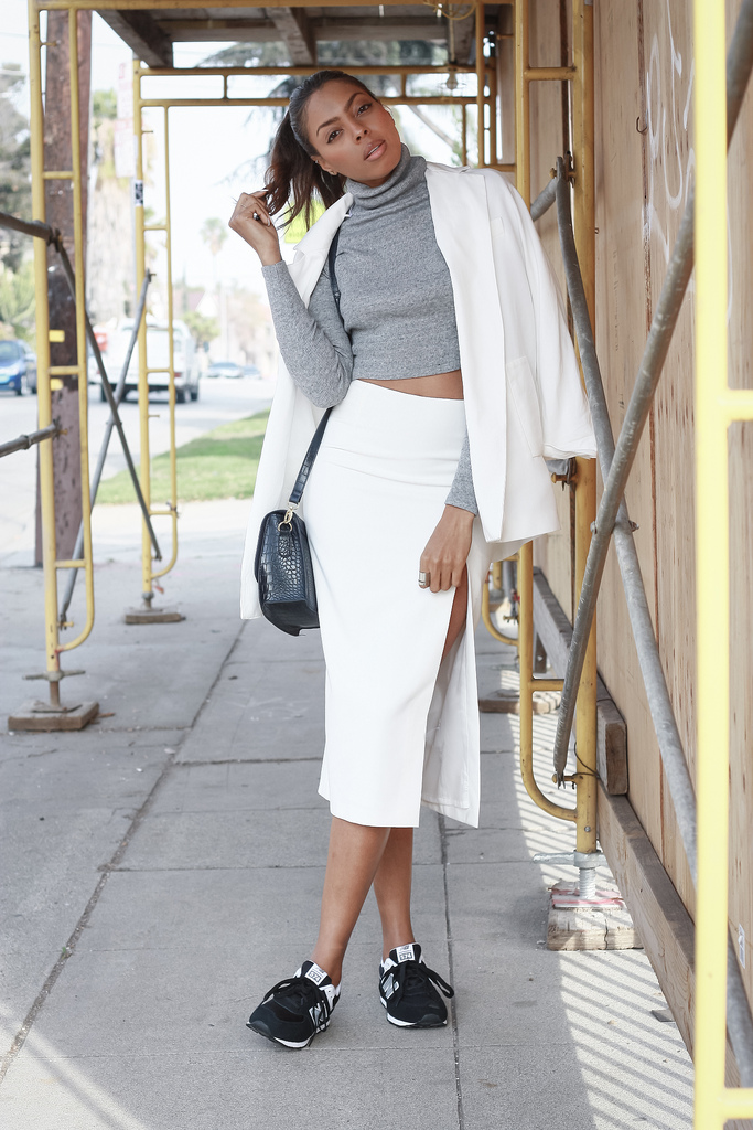 Skirts With High Slits: Bambis Armoire is wearing a white Zara maxi skirt